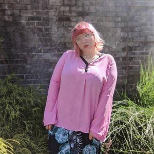 Elle Hot Pink & Black Slightly Sheer V-neck Blouse
